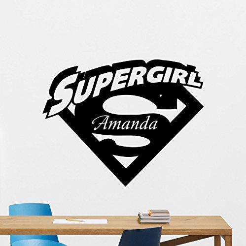 CarolGreyDecals Personalized Supergirl Logo Wall Decal Girl Custom Name Comics Superhero Vinyl Sticker Wall Decor Cool Wall Art Kids Teen Girl Room Wall Design Modern Bedroom Wall Decor Mural -