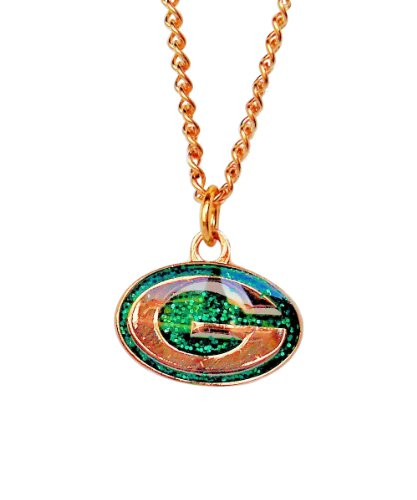 Green Bay Packers Pendant - aminco NFL Green Bay Packers Glitter Pendant Necklace