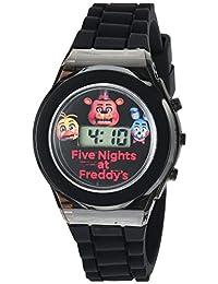 Five Nights at Freddy's Kids' - Reloj digital con carcasa negra, luces LED intermitentes, correa de silicona negra - Personajes FNaF en la esfera, seguro para niños - Modelo: FNF3004