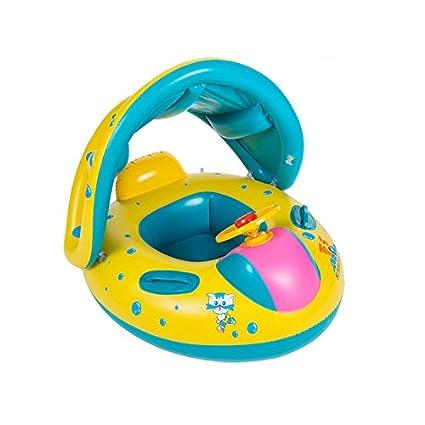 Baby inflable nadar agua flotador redondo Toddler Seguridad Ayuda nadar anillo de asiento flotador con parasol