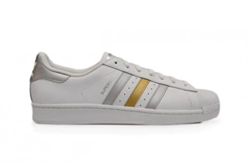 Adidas Mens Superstar White Gold Silver UK 8: Amazon