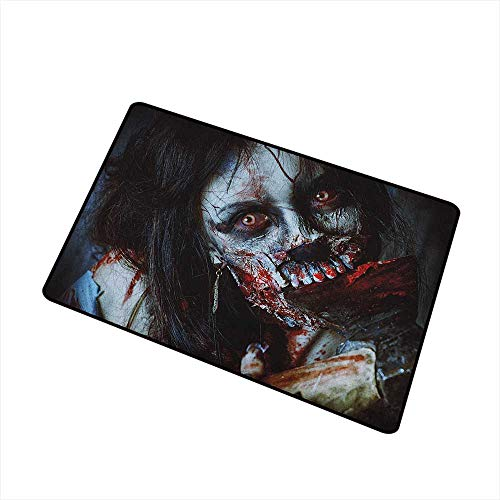 Wang Hai Chuan Zombie Welcome Door mat Scary Dead Woman with a Bloody Axe Evil Fantasy Gothic Mystery Halloween Picture Door mat is odorless and Durable W15.7 x L23.6 Inch Multicolor]()
