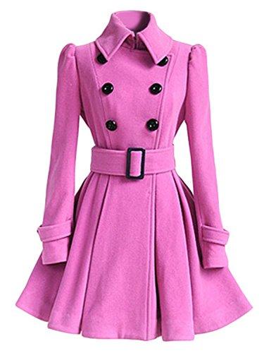 - AUSZOSLT Women Swing Double Breasted Pea Coat with Belt Slim Fit Mid-Long Lapel Dress Coat Pink 2XL