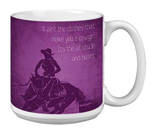 Tree-Free Greetings Extra Large 20-Ounce Ceramic Coffee Mug, Cowgirl Attitude Themed Western Art -
