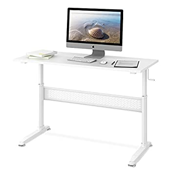 DEVAISE Adjustable Height Standing Desk 55 Inch with Crank Handle / White
