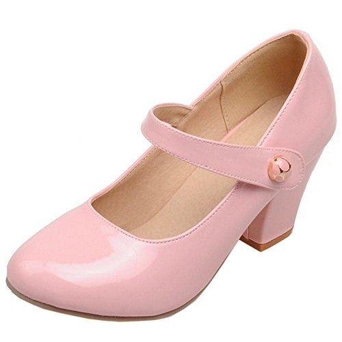 Blocco Davanti Chiuse Alto rosa Donna Mary Tacco Scarpe Col Velcro Moda TAOFFEN Jane A1pqwgxq
