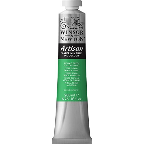 Winsor & Newton Artisan Water Mixable Oil Colour Paint, 200ml Tube, Phthalo Green (Yellow Shade) (Yellow Green Shade Winsor)
