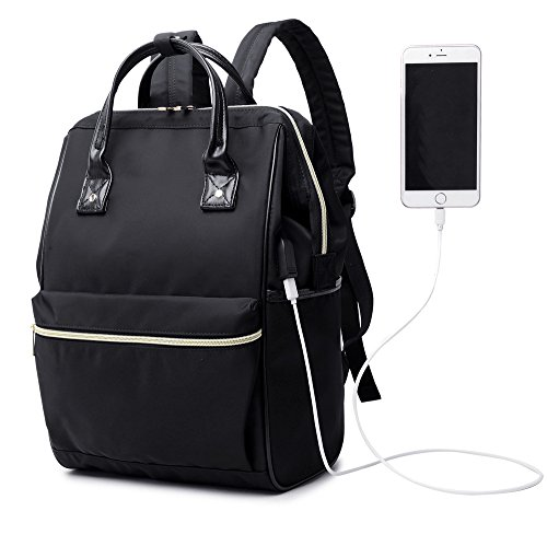 Women Man Casual Laptop Backpack Travel Daypack Business Bag College Backpack Wide Open Schoolbag with USB Charging Port Nylon Bag Black by Peonys
