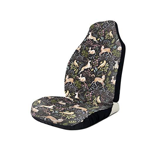 Car Seat Covers Deer Bunny Floral Elastic Full Set Car Seat Protectors Universal Car Seat Accessories,1 PCS