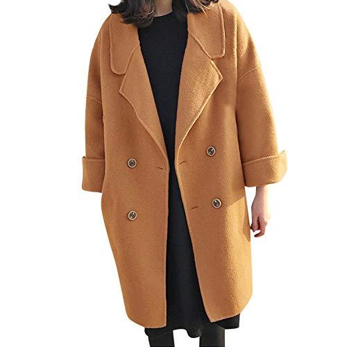 Women's Fashion Wool Coat by Harpi Women Coats Winter Clearance Lapel Trench Jacket Long Sleeve Outerwear