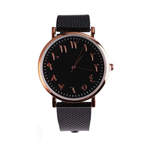 Diamondo Arabic Numbers Mesh Watch Classic Men Women Simple Dial Quartz Watches (C
