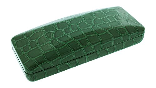 Clamshell Patent Leather Eyeglass Case Faux Crocodile Green Small/Medium - Hard Case Optical Frame