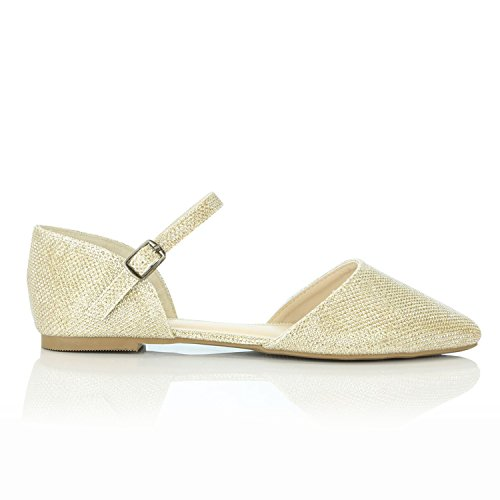 7d535de4912f4 DailyShoes Women's Pointy Toe Flats D'Orsay Buckle Ankle Strap ...