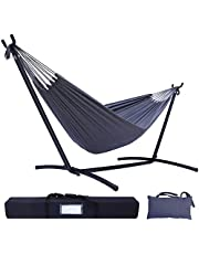 Hammock with Stand, Ohuhu Double Hammock with Space Saving Steel Stand & Pillow, 2-Person Hammock with Portable Carrying Bag, Camping Hammock for Outdoor Garden Yard Porch Patio & Indoor Space, 450 lb Capacity, Grey, Gift Ideal for Birthday Thanksgiving Day Parents Family
