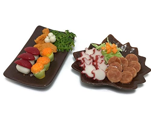 - Mr_air_thai_Miniature 2 Miniature Sushi Set Food Dollhouse Drink Japan Food Shshi Bento Steak Salad Vegetable Fruit Decor Furniture ( Sushi,Salad Steak) F14