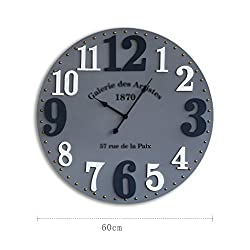 Wall Clock Wall Clock/12 Vintage Arabic Numeral Design Rustic Style Wooden Decorative Round Wall Clock (Color : 2)