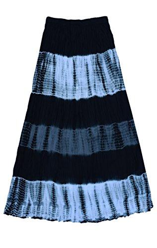 (Mohini Pure Cotton Crinkled Tie Dye Long Skirt: Black Grey:)