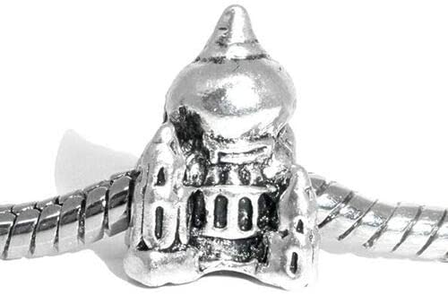 Antiqued Silver Taj Mahal India 14mm Shaped Large 4.8mm Hole Charm Bead 1pc