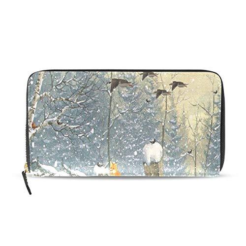 Womens Wallets Winter Woods Deer Tree Christmas Fox Cardinal Animal Leather Passport Wallet Change Purse Zip Handbags