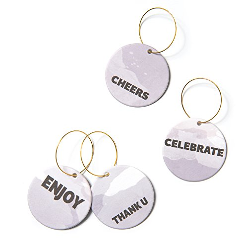 Moment Wine Glass (Ling's moment Wine Glass Charms for Wedding Party Gathering Reunions Set of 18 Simplest Words (1 3/4 inches))