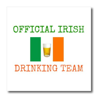 3dRose ht_180054_2 Official Irish Drinking Team Green Letters with Ireland Flag and Beer Iron on Heat Transfer for White Material, 6