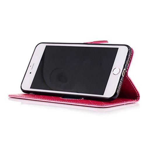 iPhone 7 Plus Hülle, ANNNWZZD Retro diamantförmiges Gitter und Liebeswölbungsentwurf PU Leder Wallet Magnet Silikon Back Cover Etui Skin Shell Magnetverschluss Standfunktion Handytasche Slim-Schutzhül