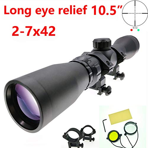 Huntiger Long Eye Relief 2-7x42 Mosin Nagant Rifle Scope Illuminate Mil-dot 1891/30 M39 M44 M38 91/30 Scout Picatinny 1913 Ring Mount