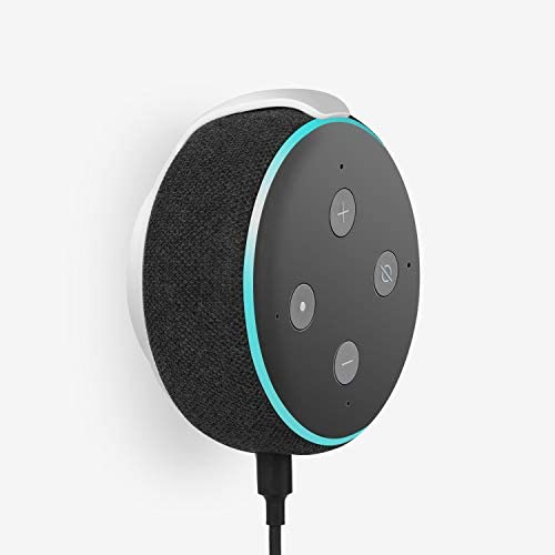 Echo Dot Wall Mount Holder for 3rd Generation, Built-in Cable Management Space-Saving Accessories for Dot(3rd Gen) Smart Speakers, with Sticking Tape and Drill Nail-White