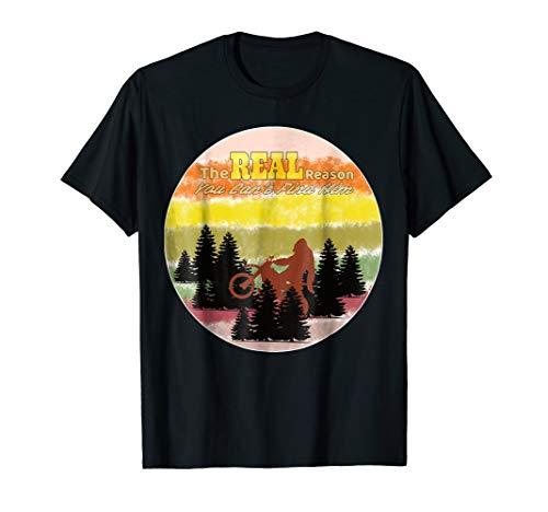 Sasquatch on Motorcycle Retro Vintage 70s Style Shirt