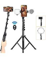 Tarion FL019 Smartphone Statief Camera Statief Reisstatief gemaakt van lichtgewicht aluminium met draaibare klem voor mobiele telefoon en draagtas
