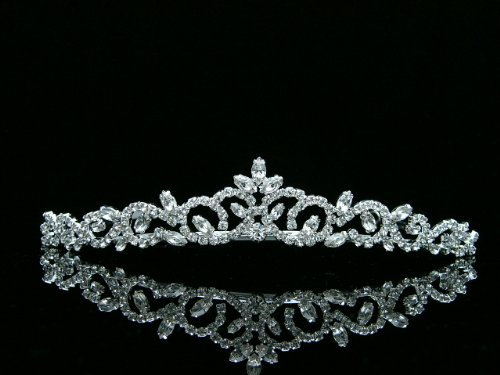 Bridal Princess Rhinestones Crystal Flower Wedding Tiara Crown - Silver Plating T463