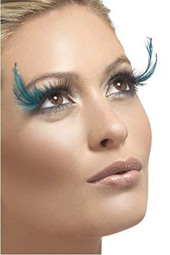 MUJER NEGRO LARGO / turquesa Pluma Pestañas Burlesque Drag Queen Disfraz Halloween Accesorio
