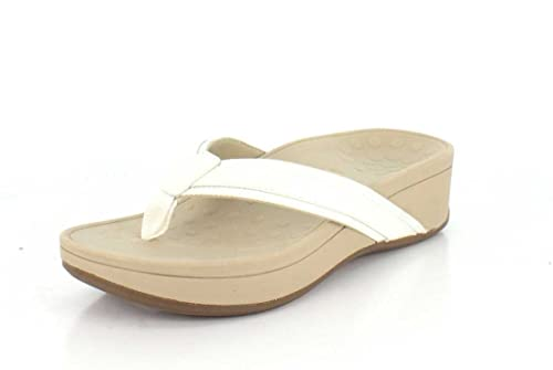 Vionic by Orthaheel Women's High Tide White Leather Sandals 8 B(M) US