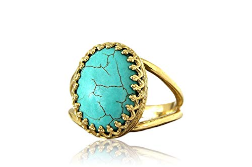 Anemone Jewelry 10CT Turquoise Ring - Glamorous AA Turquoise 14K Gold Ring Jewelry - Handcrafted By Skilled Jewelers [Handmade]