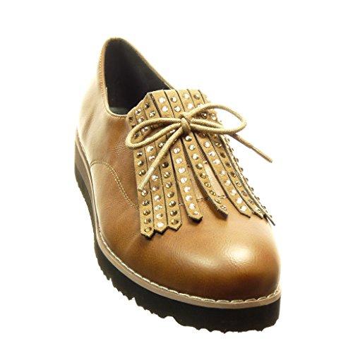 Angkorly - Chaussure Mode Mocassin Derbies slip-on femme frange strass diamant lacets Talon compensé 3.5 CM - Camel