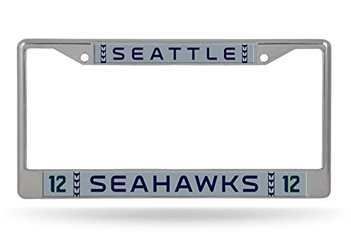 Seattle Seahawks 12th Man GRAY Jersey Design Chrome Frame Metal License Plate Tag Cover Football