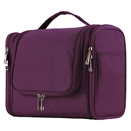 (Extra Large Capacity Hanging Toiletry Bag for Men & Women, Portable Waterproof Bathroom Shower Bag, Lightweight Dopp kit Shaving Bag, Sturdy Metal Hook Organizer Makeup Bag (Purple))
