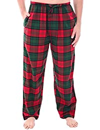 Mens Flannel Plaid Pajama Pants, Long Cotton Pj Bottoms