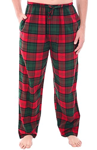 (Alexander Del Rossa Mens Flannel Pajama Pants, Long Cotton Pj Bottoms, 2XL Red and Green Plaid)