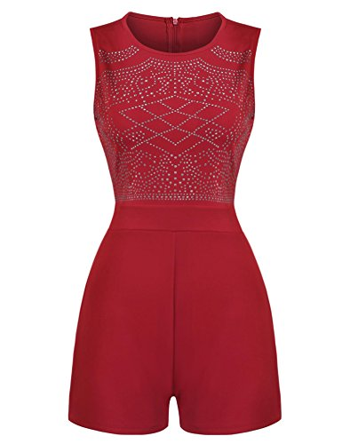 Embellished Jumpsuit (ELESOL Women Slim Fit Rhinestone Embellished Sleeveless Jumpsuit Red XXL)