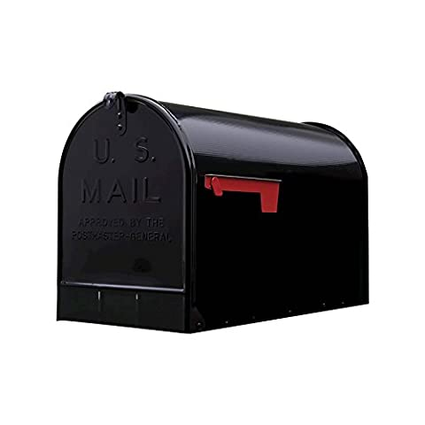 Black, Gibraltar Extra-Large Steel Post-Mount Mailbox - New