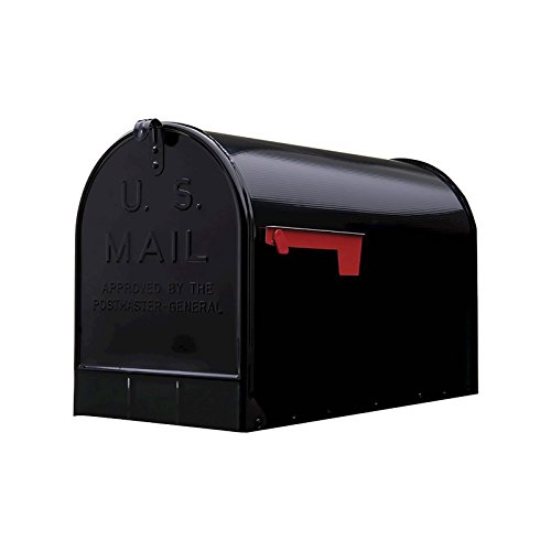 - Black, Gibraltar Extra-Large Steel Post-Mount Mailbox - New