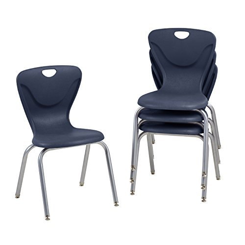 School Stacking Student Chair, Molded, Navy (Set of 4) (Navy Stacking Chair)