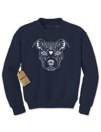Expression Tees Pitbull Sugar Skull Day Of The Dead Crewneck Sweatshirt