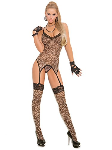 Elegant Moments Women's Leopard Print Camisette G-String and Matching Stockings, One Size