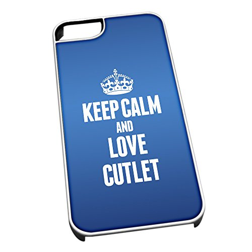 Bianco cover per iPhone 5/5S, blu 1030 Keep Calm and Love Cotoletta