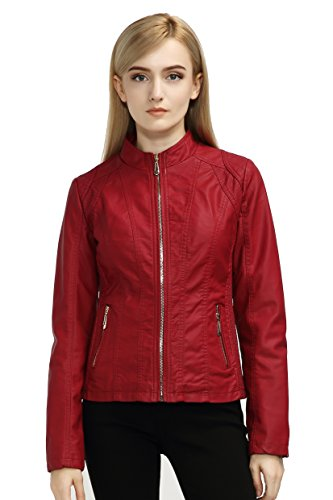 Bellivera Women's Faux Leather Casual Red Short Jacket,Moto Coat with 2 Zipper Pockets for Spring and Autumn ()