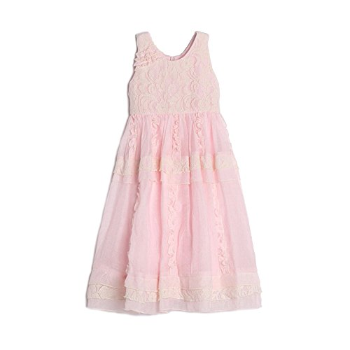 Isobella & Chloe Little Girls Light Pink Lace Ruffle Flower Girl Dress (Voile Empire Dress)