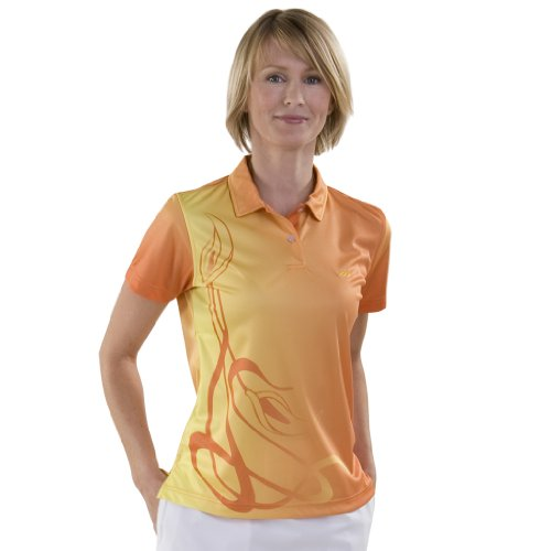 Monterey Club Ladies Dry Swing Ombre Print Shirt #2536 (Bright Orange, Small)
