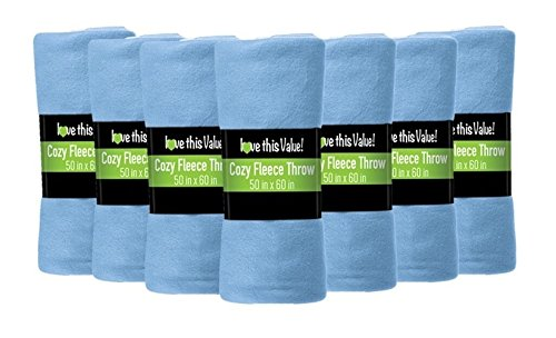Imperial Home 24 Pack Wholesale Soft Cozy Fleece Blankets - 50'' x 60'' Comfy Throw Blankets (Light Blue)